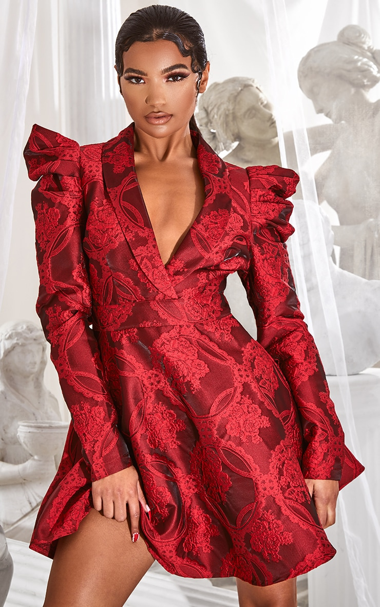 Red Jacquard Puff Sleeve Lapel Detail Skater Dress 1