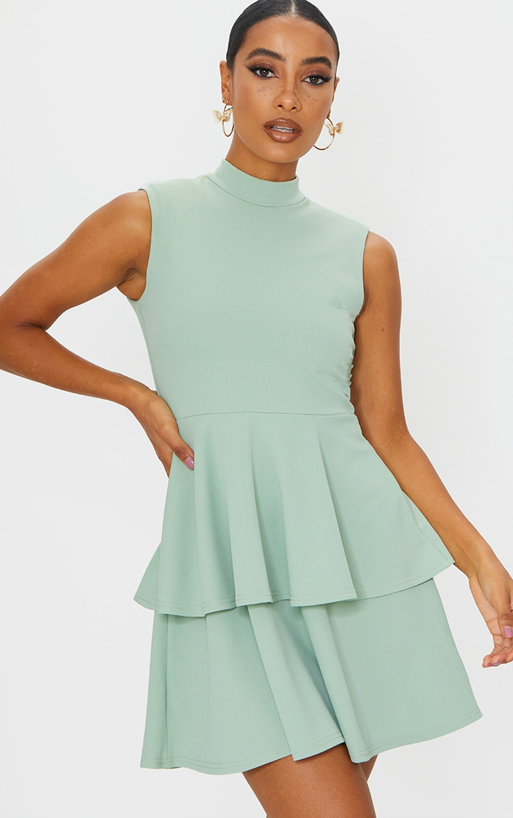 Sage Green Sleeveless Shoulder Pad Detail Tiered Skater Dress 1