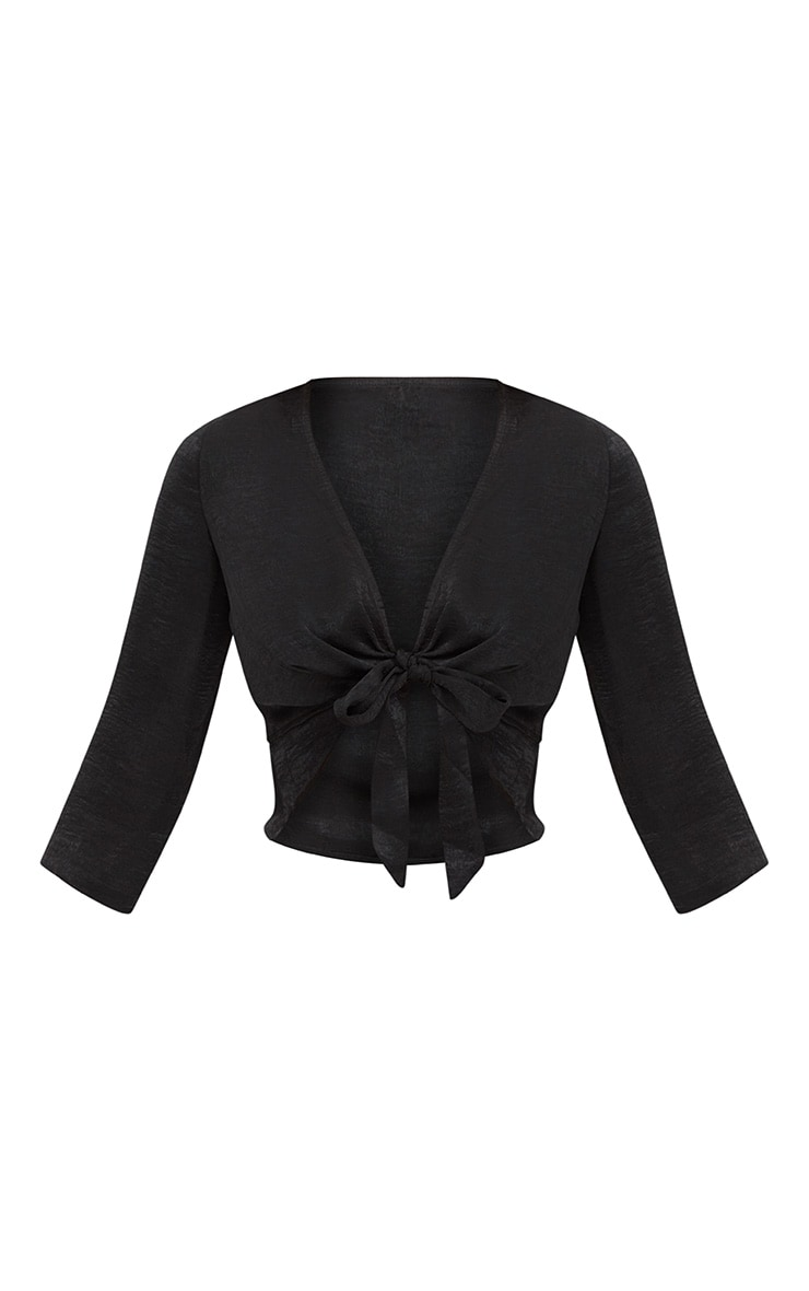 Black Hammered Satin Tie Front Frill Crop Top 3