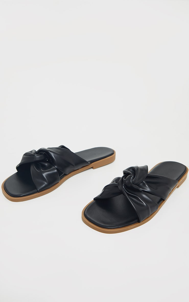 Black PU Knot Detail Flat Mule Sandals 3