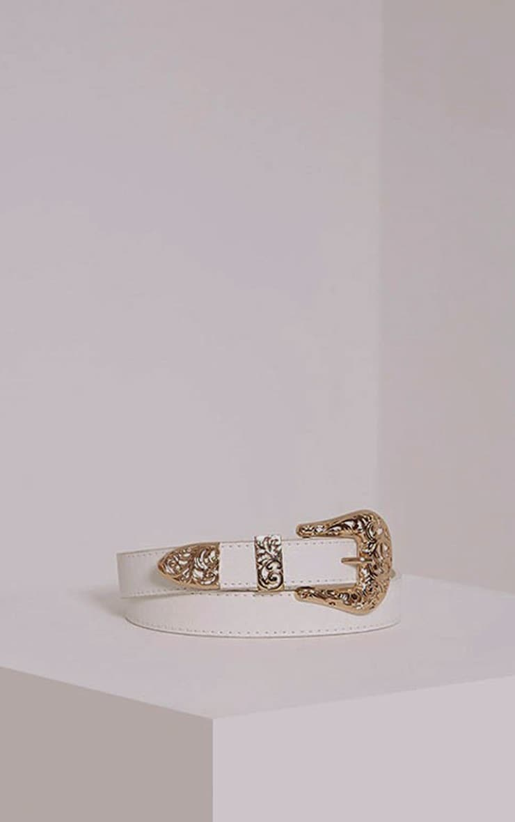 Madina White Gold Buckle Belt 1