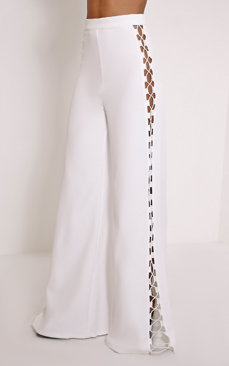 Loiss Cream Lace Up Side Wide Leg Trousers 3