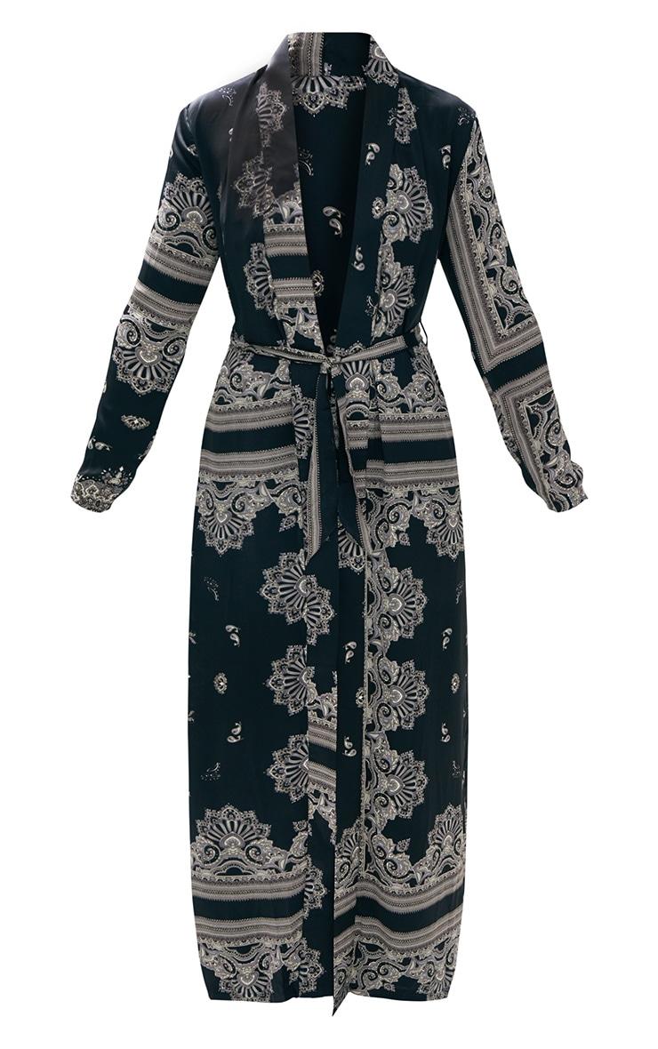 Black Silky Paisley Duster Coat 3