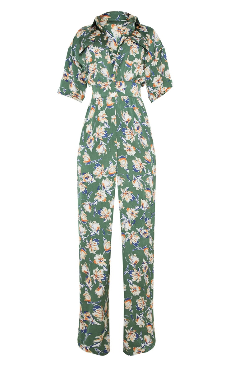 Green Floral Button Up Short Sleeved Jumpsuit 3