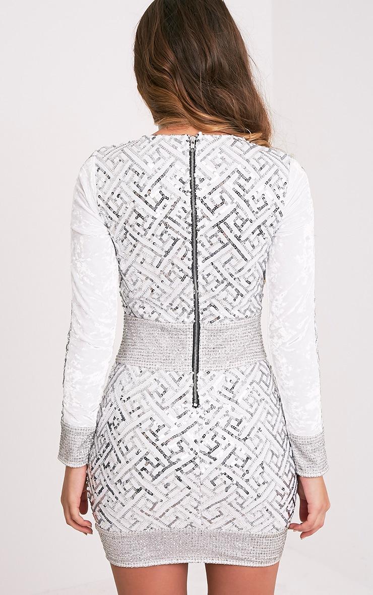 Kimya Silver Premium Sequin Velvet Panel Bodycon Dress 3