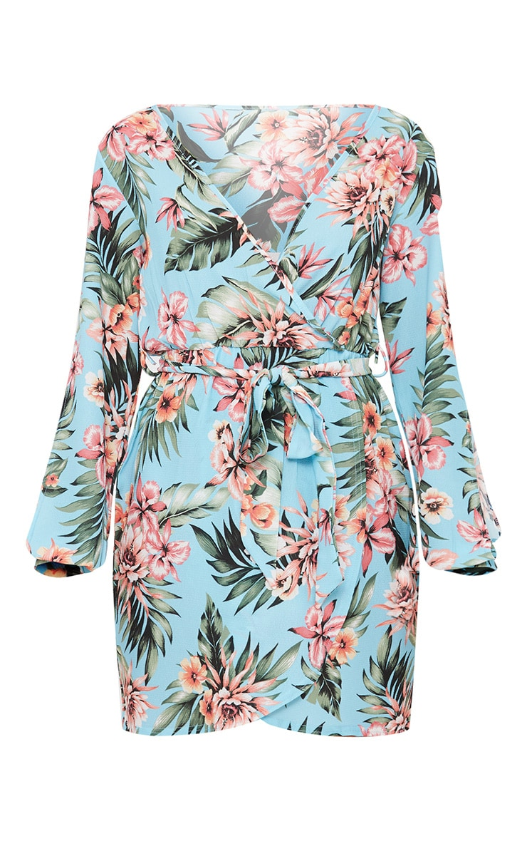 Blue Floral Open Sleeve Wrap Detail Shift Dress 3