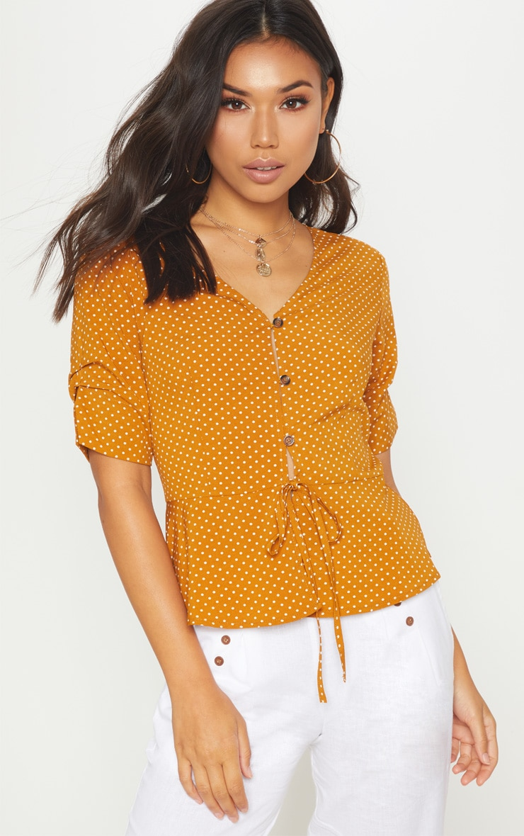 Mustard Polka Dot Button Front Blouse 1