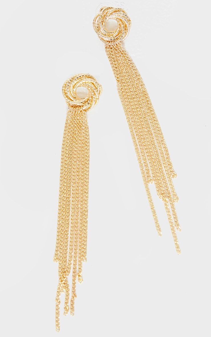 Gold Twist Chain Drop Earrings 2