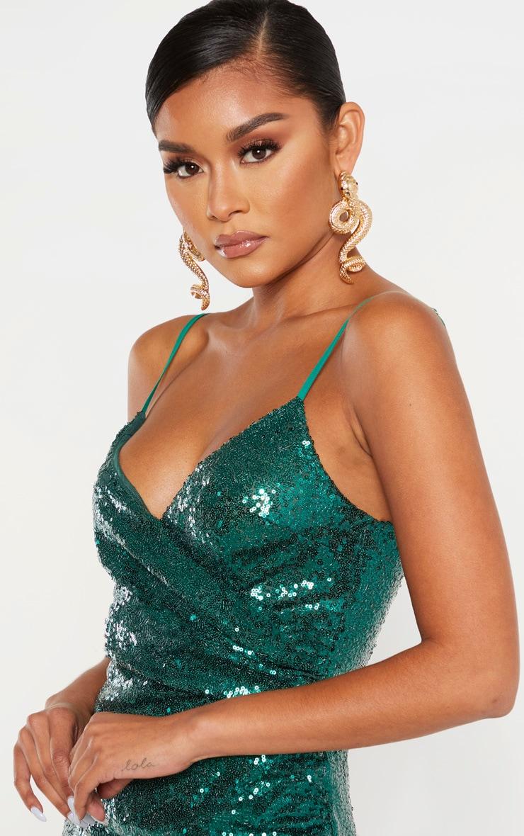 Emerald Green Sequin Wrap Over Midaxi Dress 5