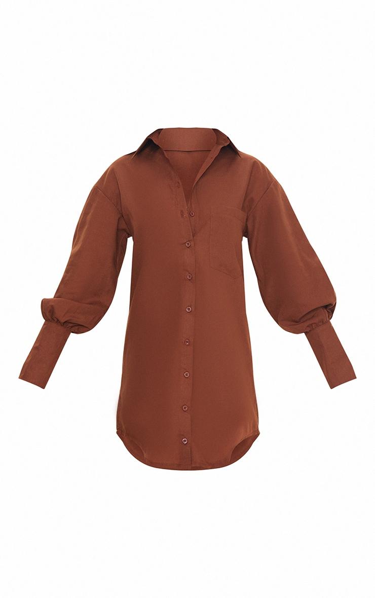 Petite Chocolate Shirt Split Hem Cuff Dress 5