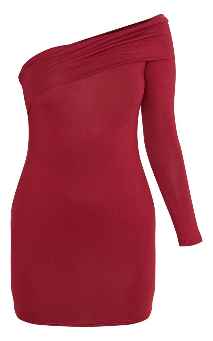 Petite Burgundy Bardot One Shoulder Jersey Bodycon Dress 3
