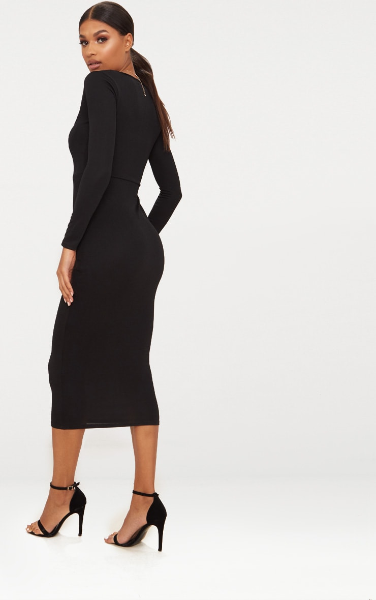 Black Square Neck Long Sleeve Midaxi Dress 2