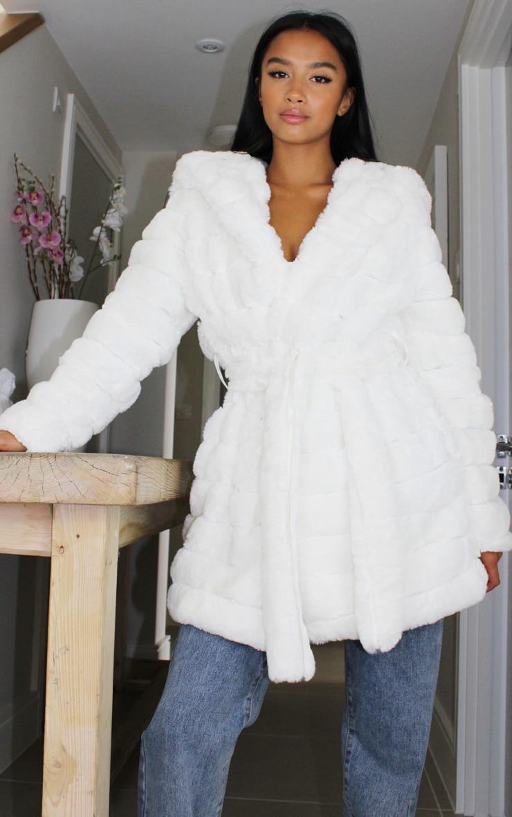 Petite Cream Bubble Fur Tie Front Coat 1