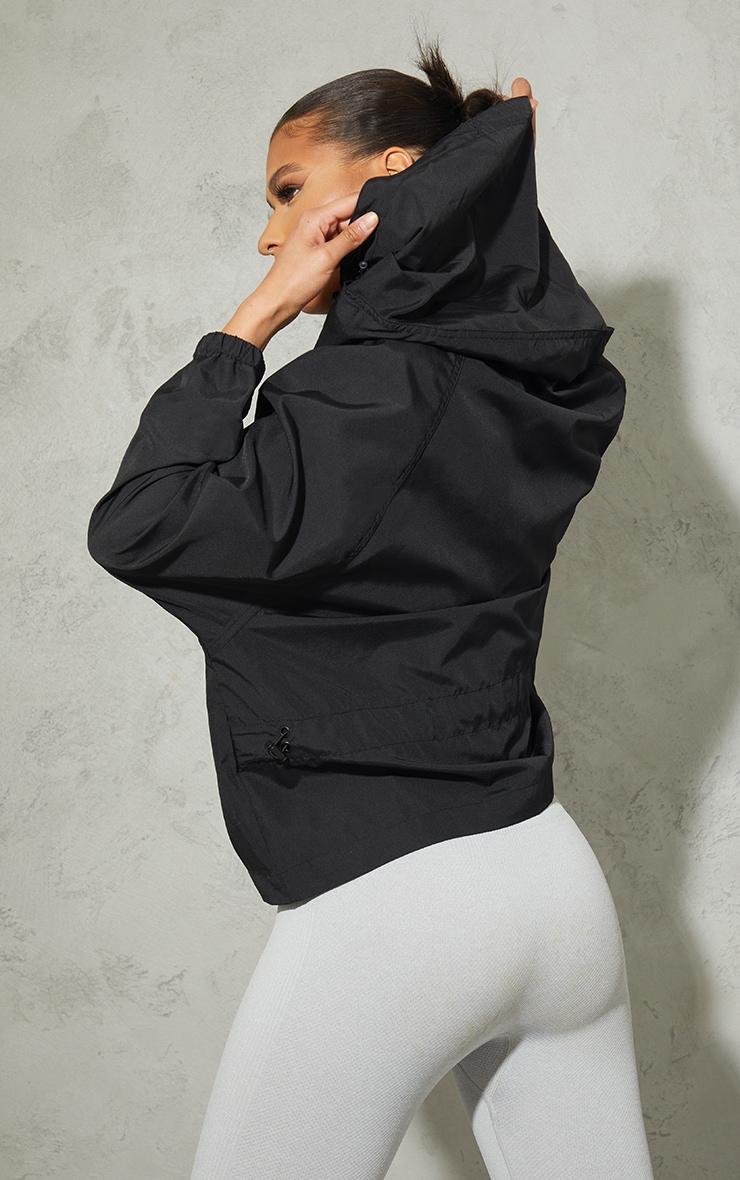 Black Nylon Pocket Front Zip Detail Tracksuit Jacket 2