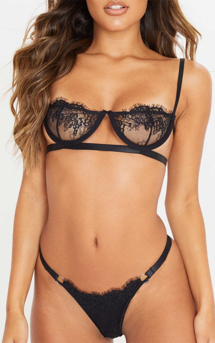 Black Ring Detail Underwired Lingerie Set 5