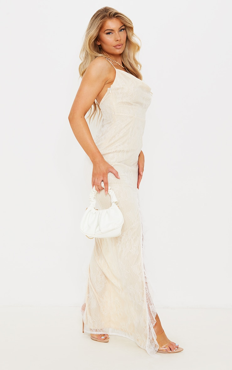 White Lace Ruched Bum Strappy Maxi Dress 3
