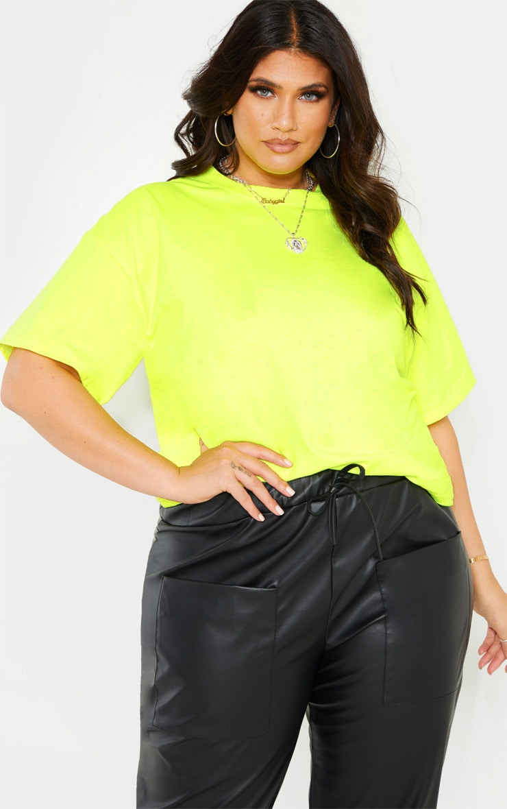 Plus Neon Lime Oversized T-shirt 1