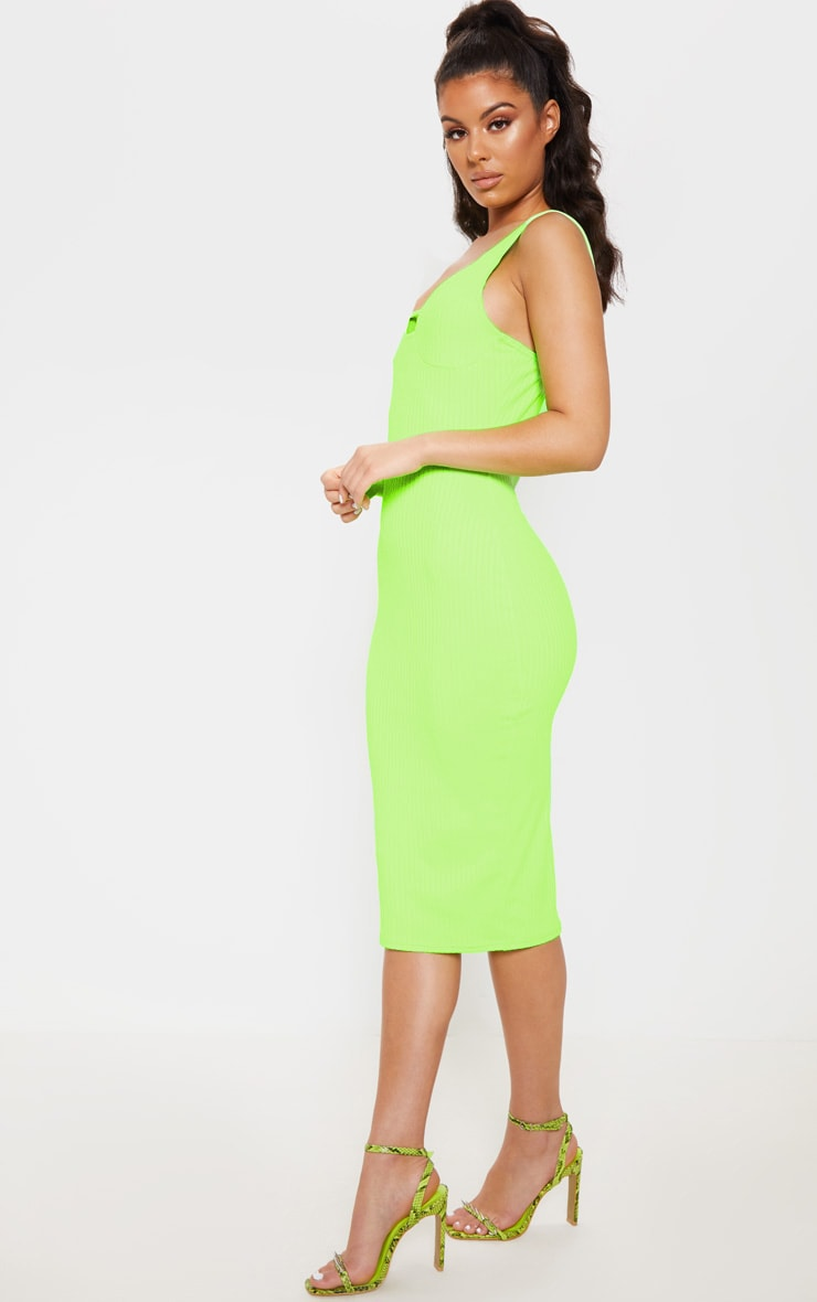Neon Lime Ribbed Sleeveless Cup Detail Midi Dress 4