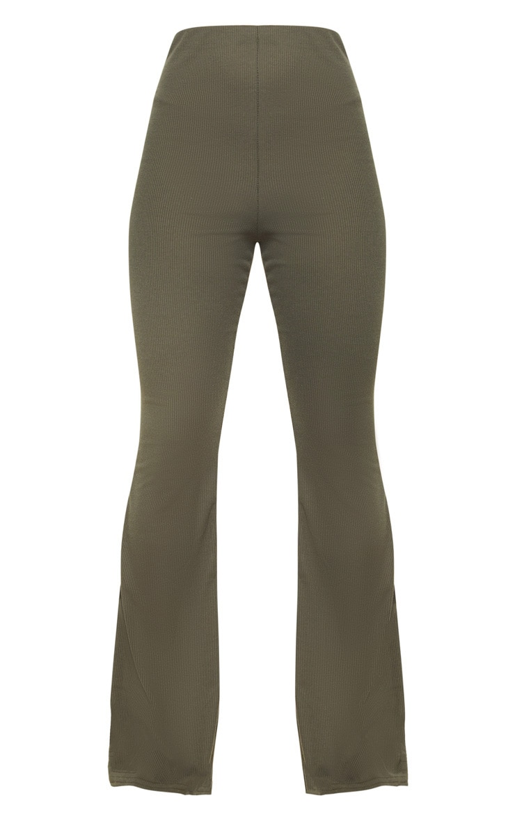 Khaki Ribbed Flared Pants 5