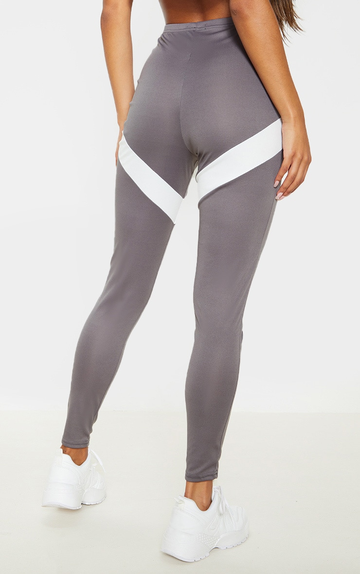 Grey Contrast Panel Leggings 4