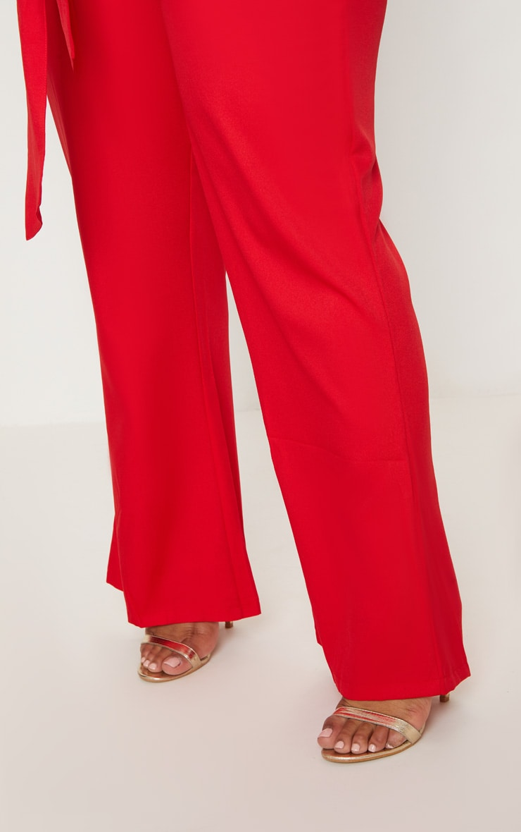Plus Red Wide Leg Suit Trousers 5