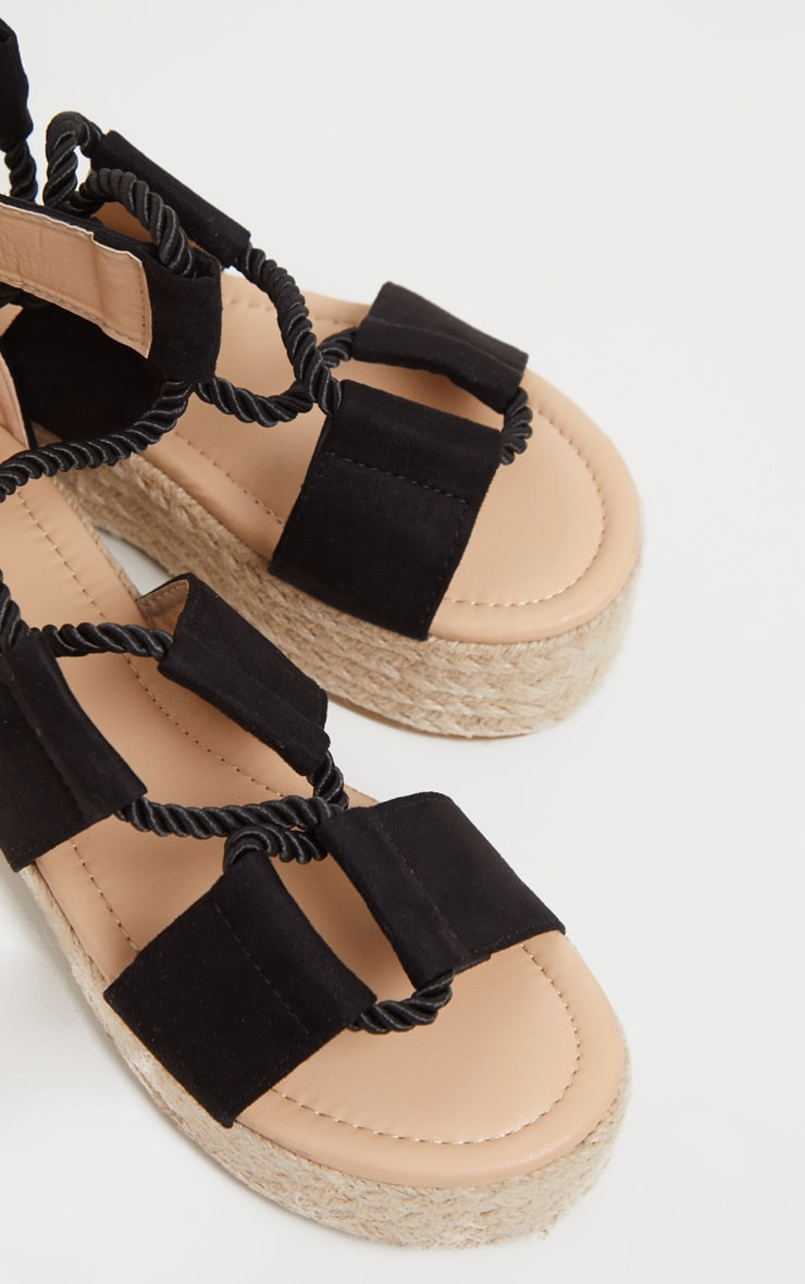 Black Lace Up Ghillie Espadrille Flatform 4