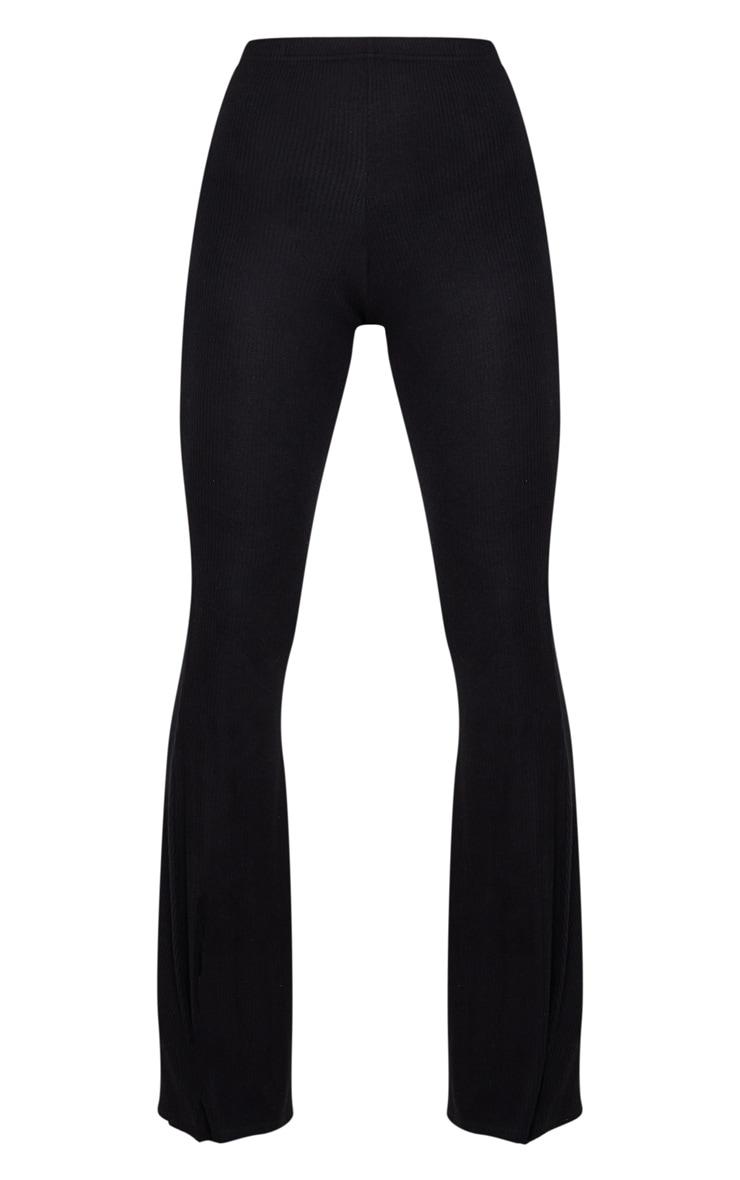 Black Brushed Rib High Waisted Flared Trouser 3