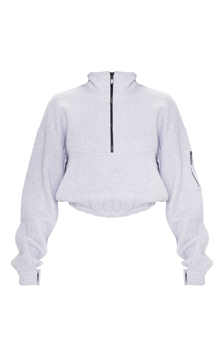 Grey Oversized Zip Front Sweatshirt 3