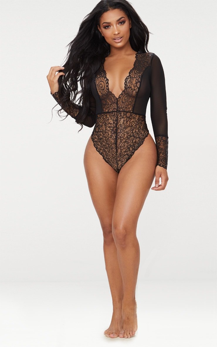 Black Long Sleeved Cuff Lace Body 4