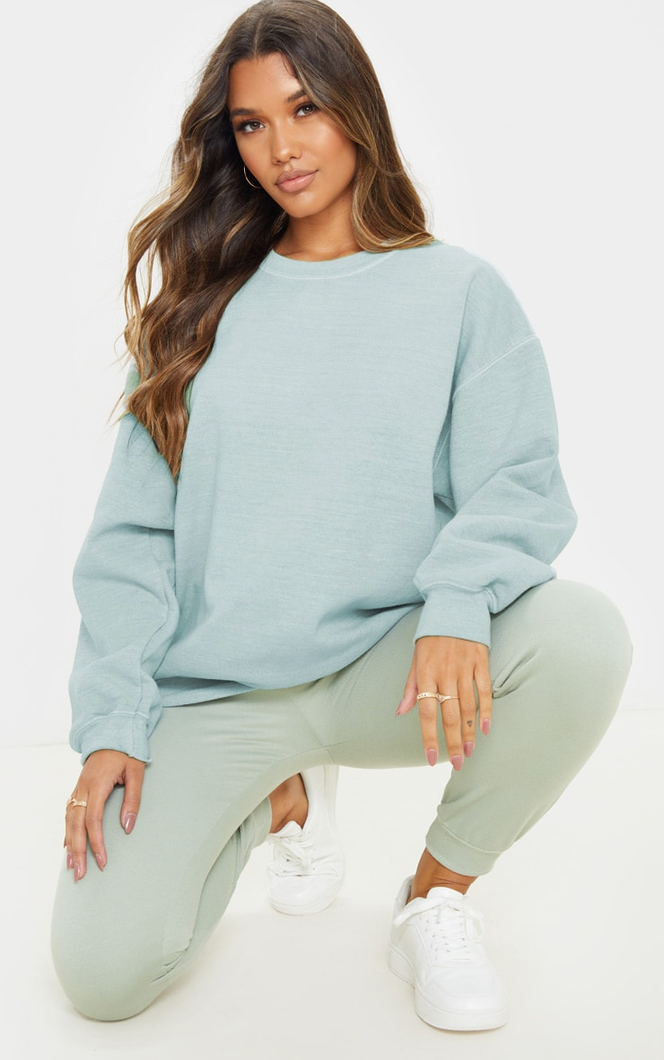 Sage Khaki Washed Ultimate Oversized Sweater 1