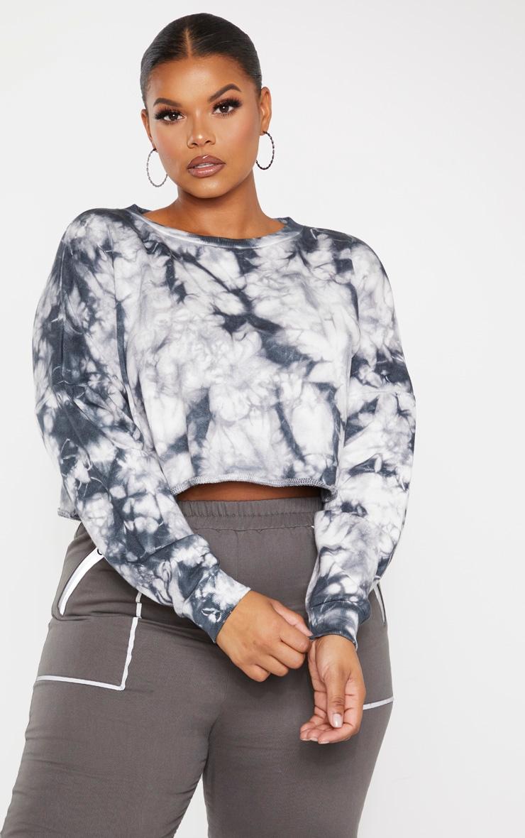 Plus Grey Tie Dye Crop Sweater 1