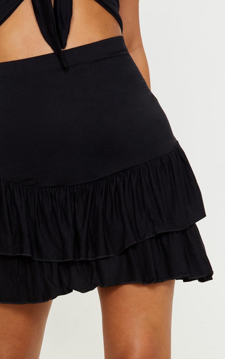 Petite - Mini-jupe noire à détail volanté 6