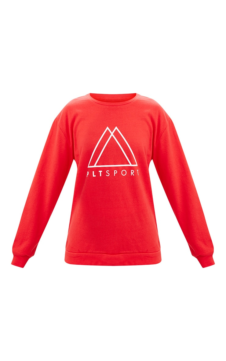 PRETTYLITTLETHING Red Sport Loop Back Sweatshirt 3