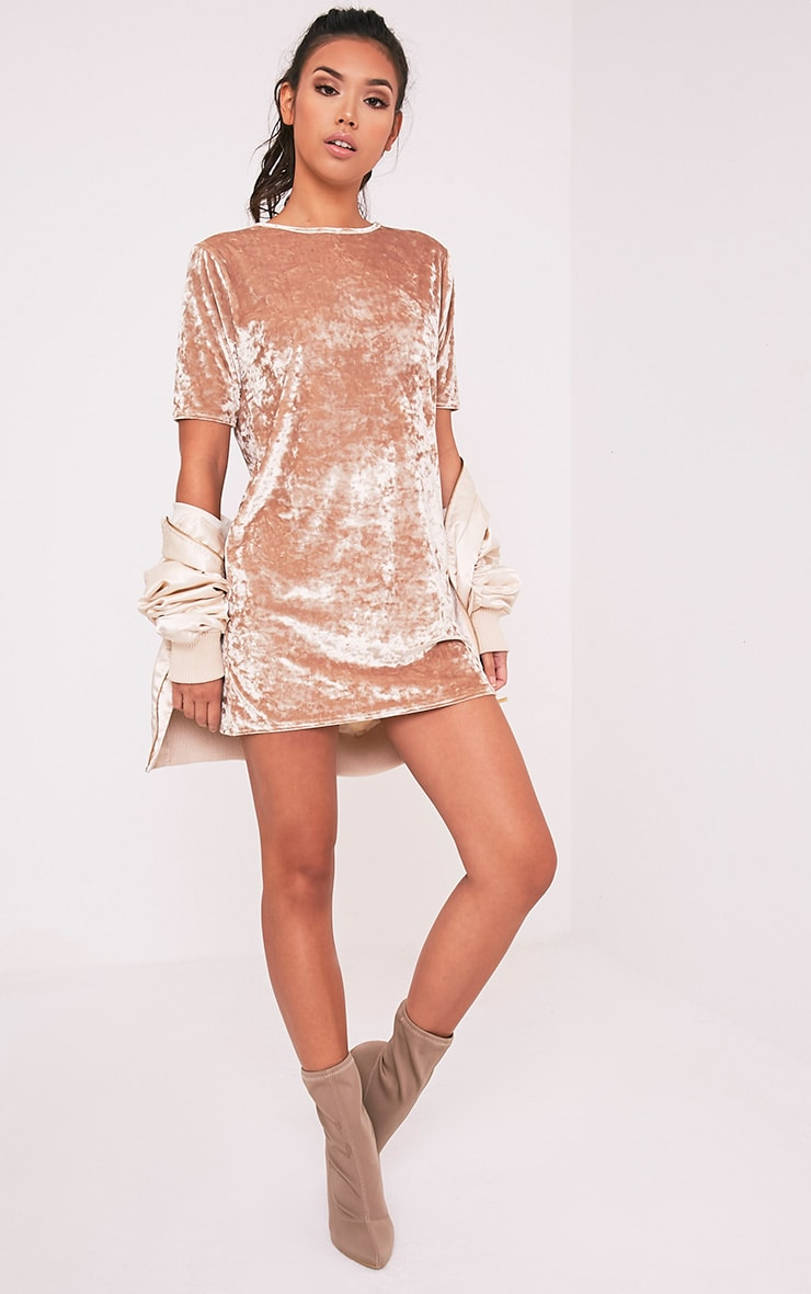 Maylia robe t-shirt champagne en velours écrasé 5