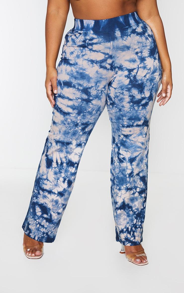 Plus Blue Tie Dye Flared Pants 2