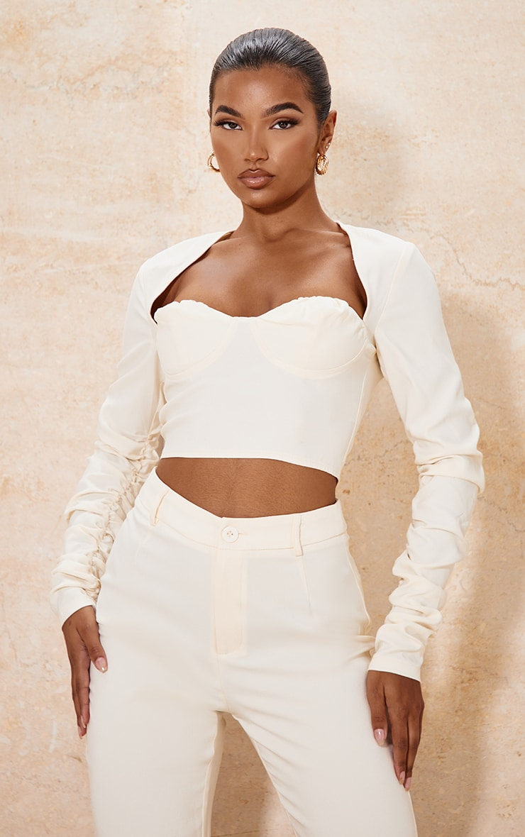 Cream Woven Cup Detail Ruched Sleeve Crop Top 1