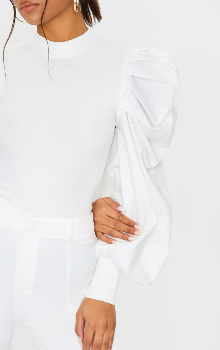 White Pleated Sleeve Jersey Rib Top 4
