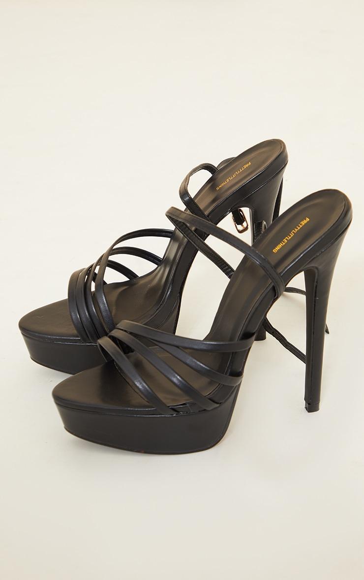 Black Platform Heeled Sandals 3