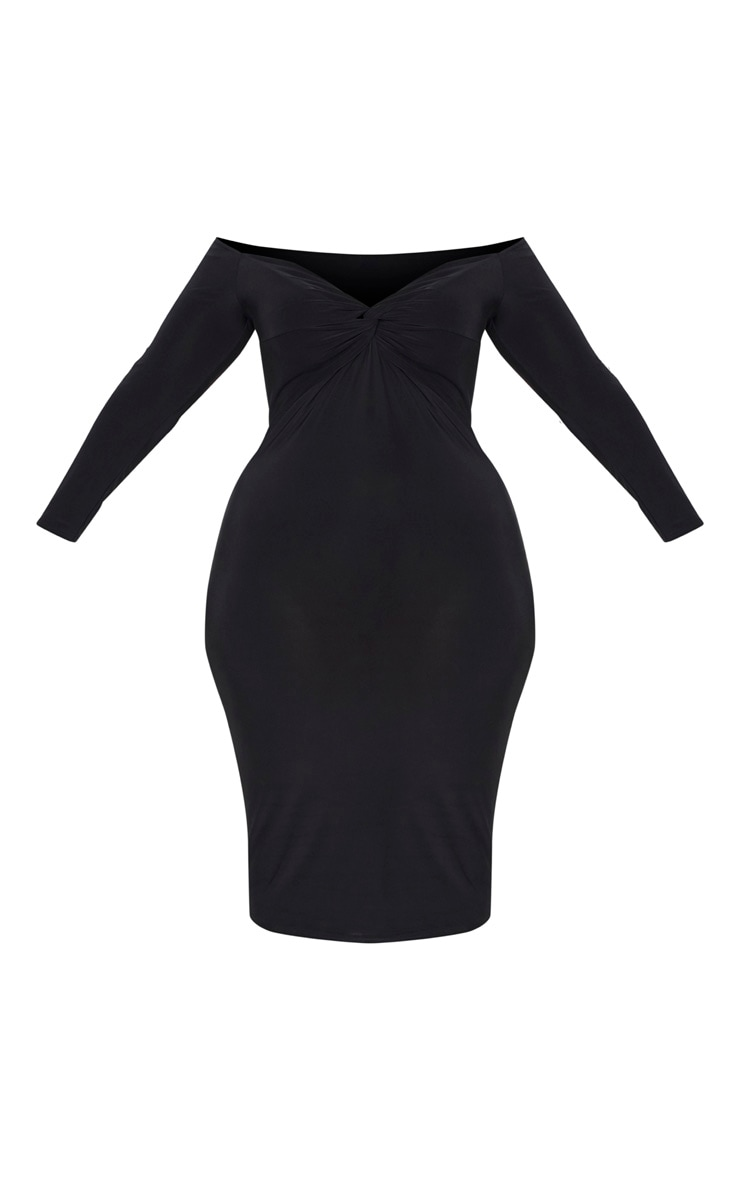 Plus Black Slinky Twist Bardot Midi Dress 3