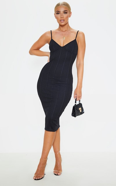 Black Bandage Strappy Cup Detail Midi Dress