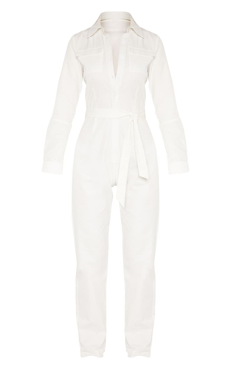 Tall White Square Pocket Long Sleeve Utility Jumpsuit 3