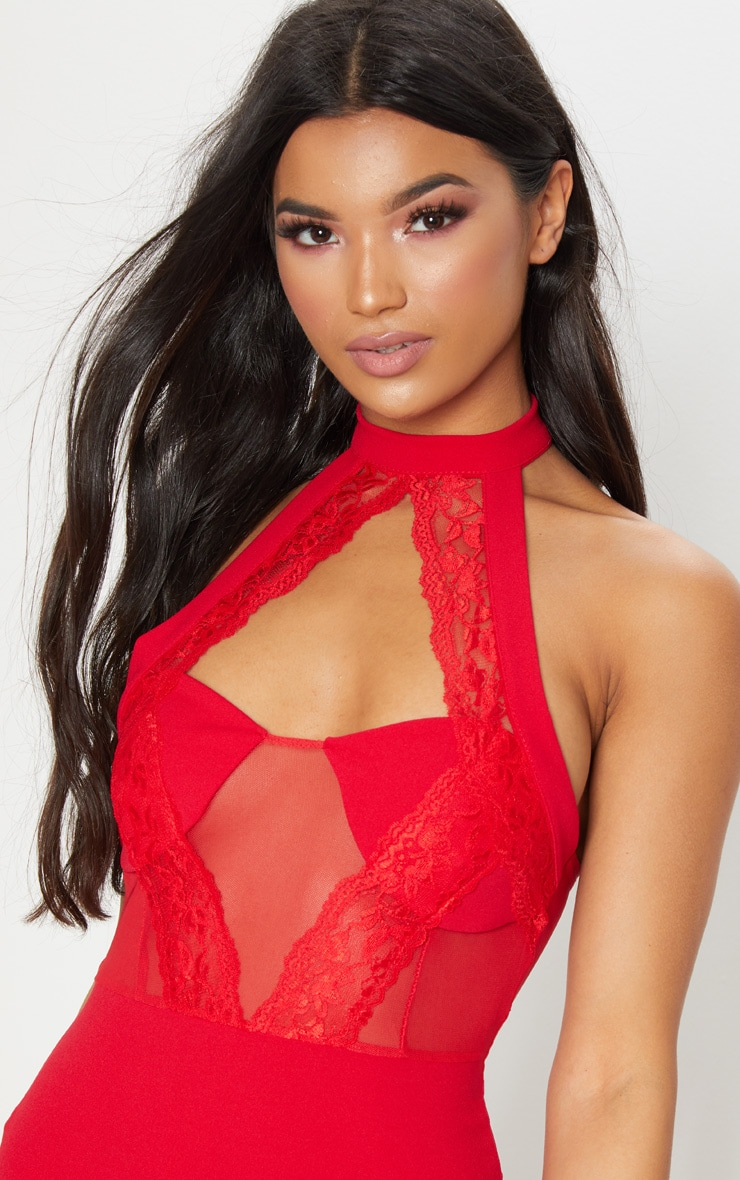 Red Lace Trim High Neck Sheer Top Bodycon Dress  5