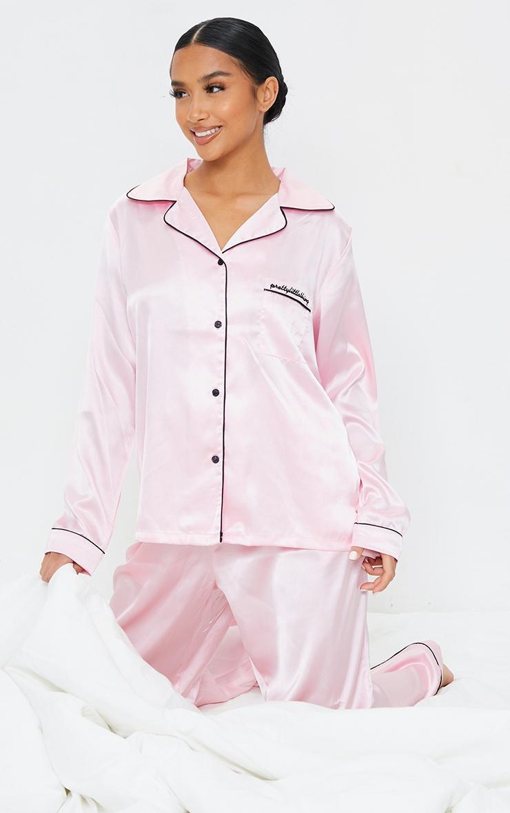 PRETTYLITTLETHING Petite Baby Pink Satin Pocket Long PJ Set 1