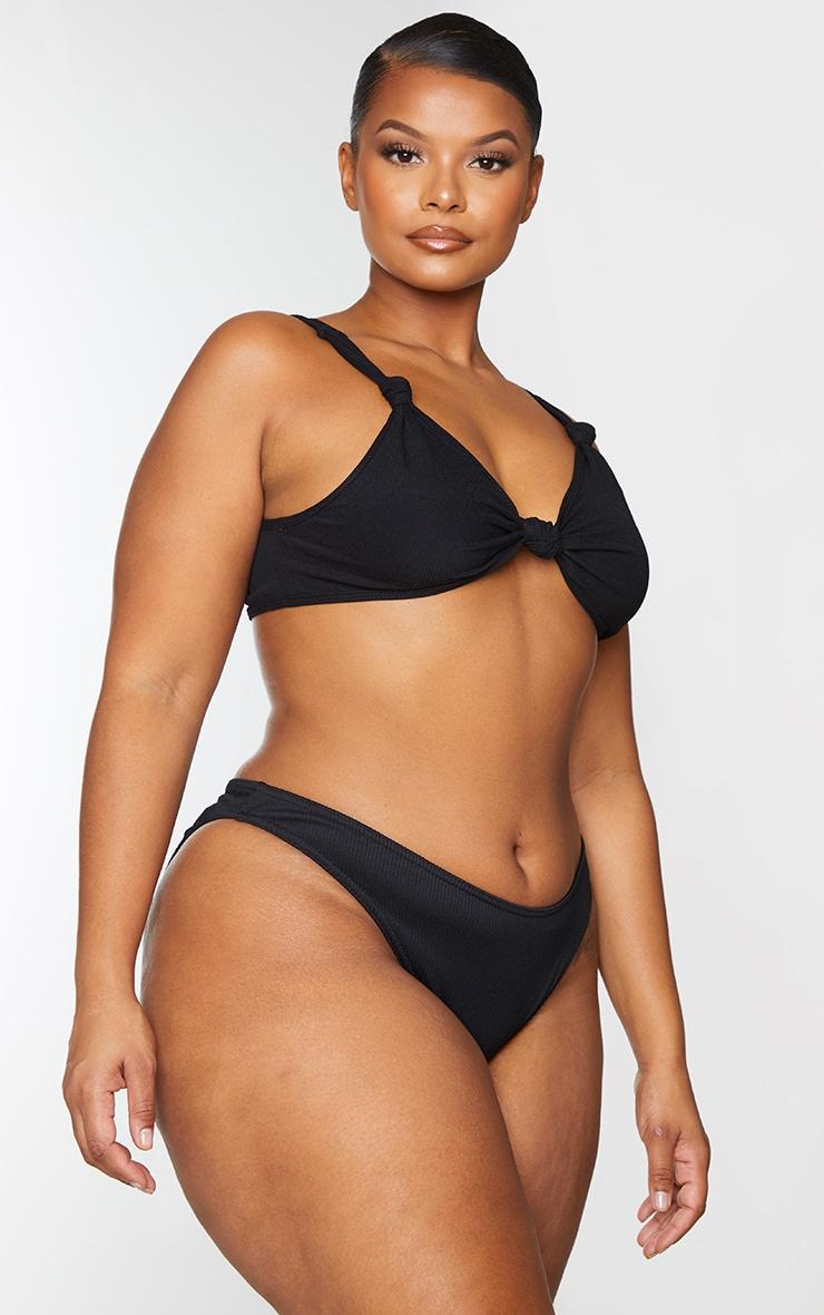 Plus Black Ribbed High Leg Bikini Bottoms 2