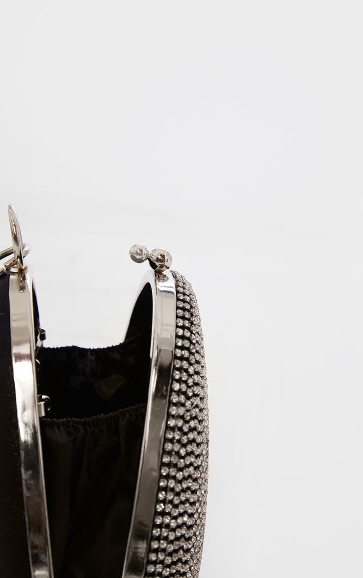 Pochette ovale noire à strass 5