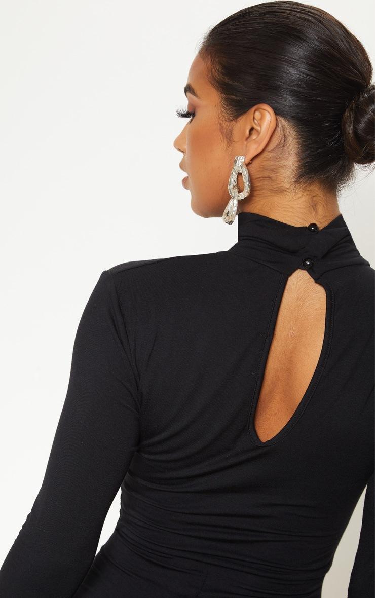 Basic Black Cotton Blend Roll Neck Long Sleeve Jumpsuit 5