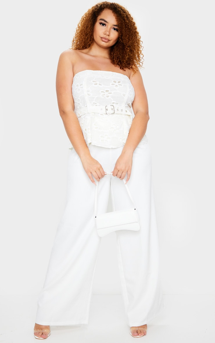 Plus White Floral Embroidered Belt Detail Top 1