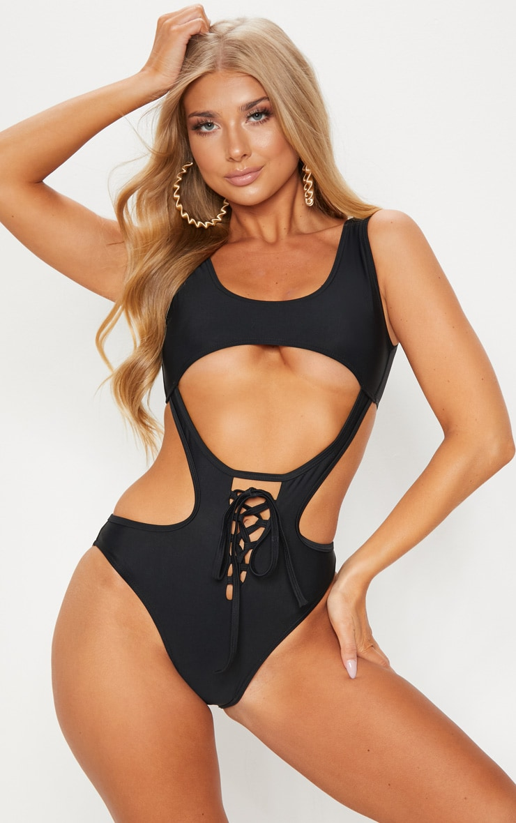 Black Lace Up Under Bust Cut Out Swimsuit 1