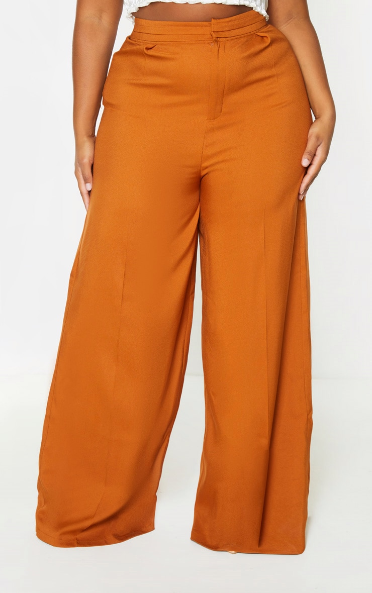 Plus Rust Woven Pleat Detail Waistband Wide Leg Trouser 2