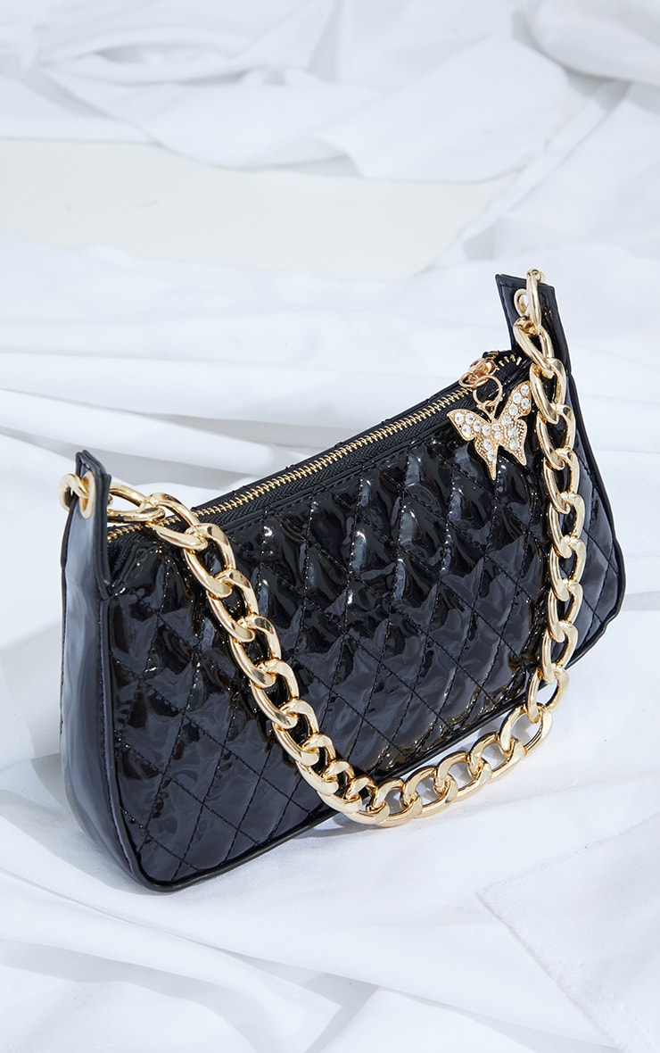 Black Quilted Gold Chain Diamante Butterfly Cross Body Bag 4